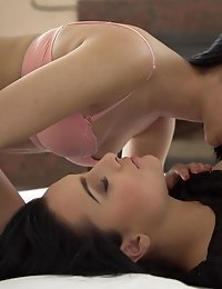 Lusty Beauties Anna Rose And Lady D Make Out In Front Of The Fire And Settle In For A Horny Lesbian