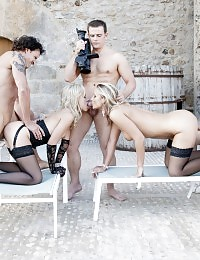 Hot naughty blondes drilled hardcore by horny guys
