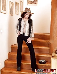 Splendid cowgirl stripping and dildoing her delicious muff on the stairs