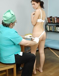 Doctor shocking a nude babe with his manipulations