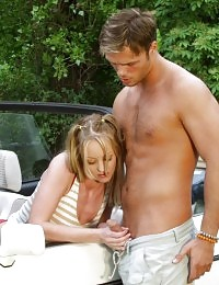 Small tits blonde in outdoor cum releasing fucking galore on the car