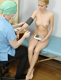 Babe undressed for a perverted health exam