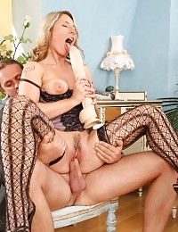 Lucie loves a huge dildo while fucking