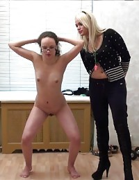 Nude collared gymnast in glasses trained pitilessly