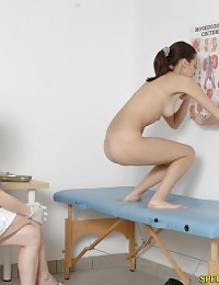 Medical fetish exam of a flexible nude girl