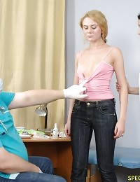 Helpless nude sub of two medical fetish examiners