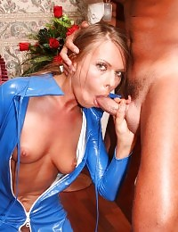Sex starved blonde hooks up with three well endowed guys and gets nasty cum facial in full HD