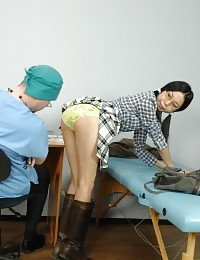 College babe gets her oriental ass examined
