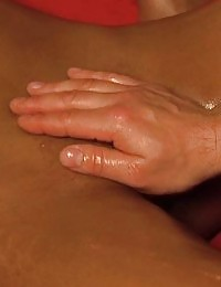 Couple enjoys a massage and handjob