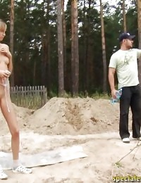 Outdoor naked action lesson under male control
