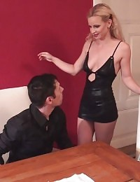 Skinny blonde moaning while fucked on the table