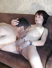 Cum-loving bitch sucking and fucking hard on the sofa.