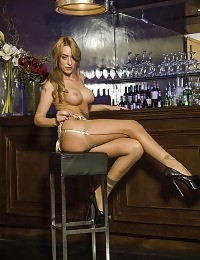 Sexy blonde waitress is sucking off the bartender