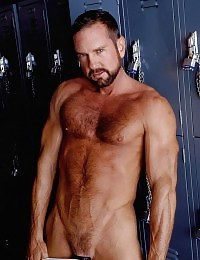 Hairy gay bear stripping off in the locker room to play with his camera ready dick
