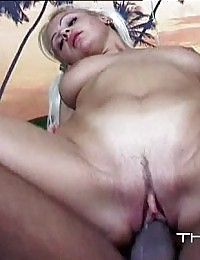Perky blonde beauty getting pounded by a tough guy