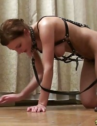 Exhausting nude circling of a leashed sports subby