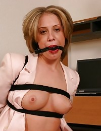 Sexy blonde office bitch Jessika gets gagged and tied up on the chair