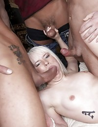 Blonde babe fucks three big dick guys