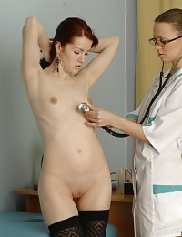 Fem health examination and medical orgasm stimulation