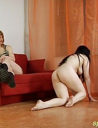 Two busty gymnastic slaves of a sport dominatrix