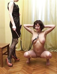 Juggy bitch of a fem trainer with a cane