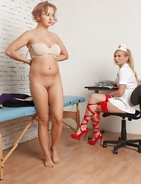 Doctor in the red nylons wants her patient to cum