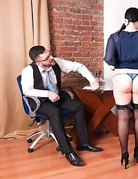 Striptease and pussy rubbing by a curvy secretary