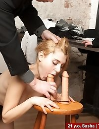 Humiliating job interview with silicone cocks