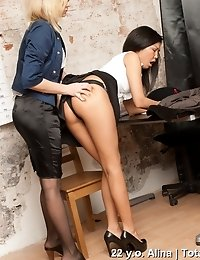 Balls and dildo for interview of an exotic secretary