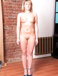 Undressed secretary masturbates and gets dildo DPed