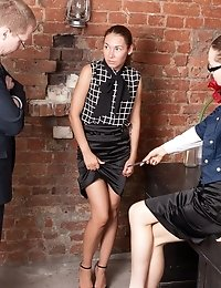Long-haired secretary stripped by two HR pervies