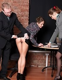 Interviewers fucking a secretary with silicone cocks