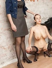 Perverted managers testing a new big-boobed secretary