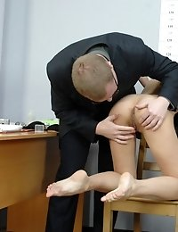 Female and male toy fuck domination at an interview