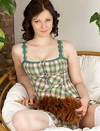 Awesome Brunette In A Simple Way Show That Every Female Body Have Amazing Beauty. She Really Knows W