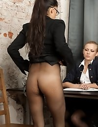 Busty candidate undressed to pantyhose and DPed